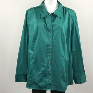 Lane Bryant teal button long sleeve top